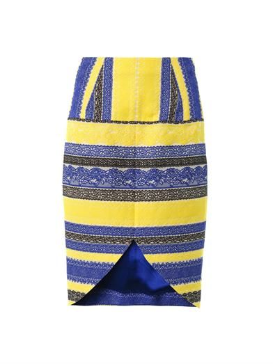 Prabal Gurung Embroidered lace stripe skirt