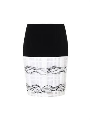 Window-pane crepe skirt