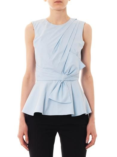 Prabal Gurung Pleated-front cotton blouse