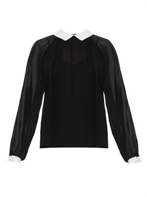 Contrast collar and cuff silk-chiffon blouse