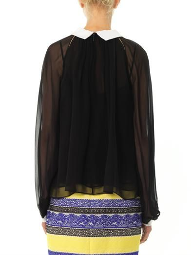 Prabal Gurung Contrast collar and cuff silk-chiffon blouse