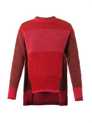 Tri-colour crew-neck sweater
