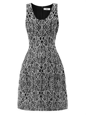 Lace-print jacquard dress