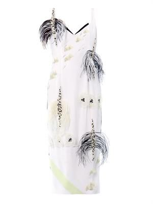 Feather and crystal-embellished dress
