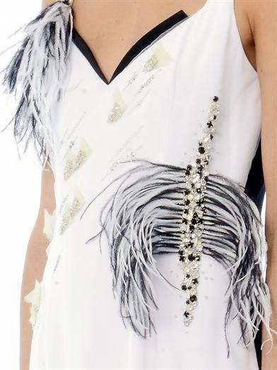 Prabal Gurung Feather and crystal-embellished dress