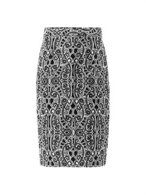 Lace-print pencil skirt