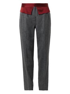 Satin-trim flannel trousers