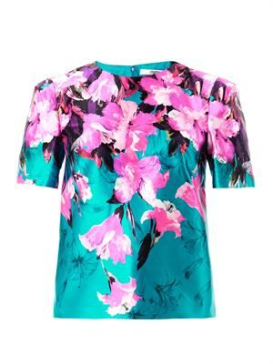 Painted lily-print blouse