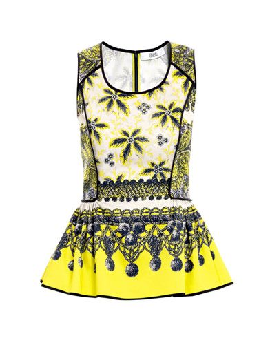 Prabal Gurung Exposed binding printed peplum top