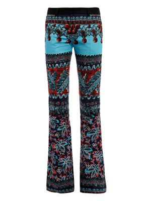 Flowering Damiana-print boot-leg trousers