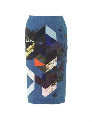 Magda flower-tile denim pencil skirt