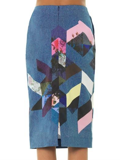 Preen Magda flower-tile denim pencil skirt
