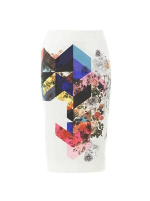 Magda flower tile-print pencil skirt