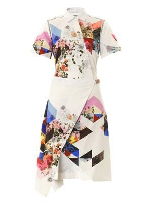 Celeste flower tile-print shirt dress
