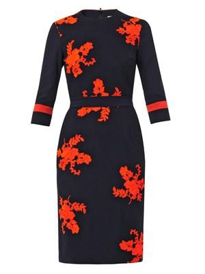 Helena embroidered bi-colour dress