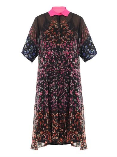 Preen Forget me not-print georgette dress