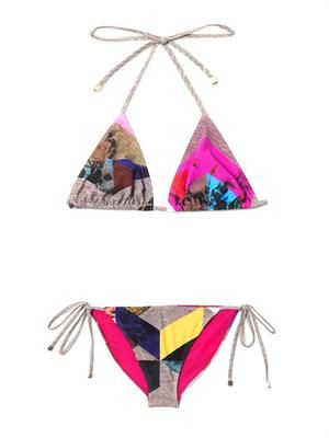 Ava flower tile-print bikini