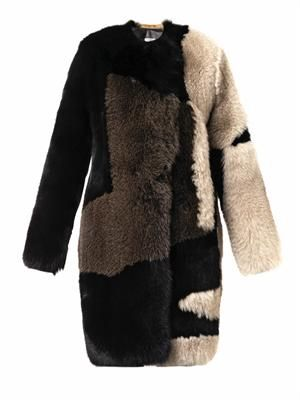 Ellen patchwork fur coat