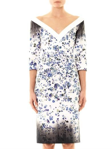 Preen Darla forget-me-not-print fitted dress