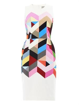 Issy tile-print crepe dress