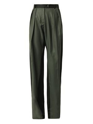 Pleat-front wide-leg trousers