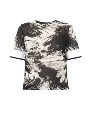 Maja blackbird-print silk top