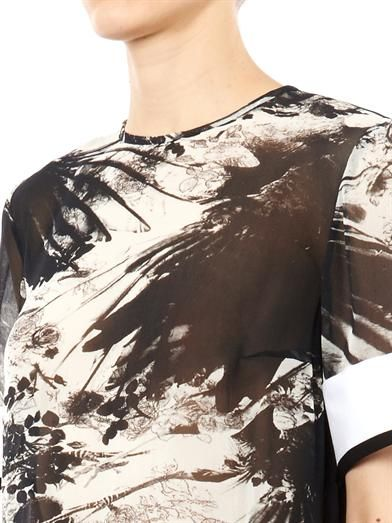 Preen by Thornton Bregazzi Maja blackbird-print silk top