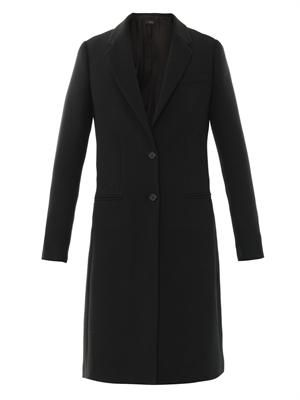 Single-breasted techno-piqué coat