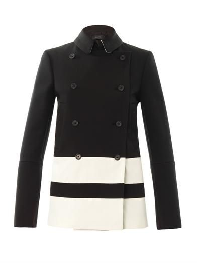 Joseph Contrast-stripe double-breasted coat