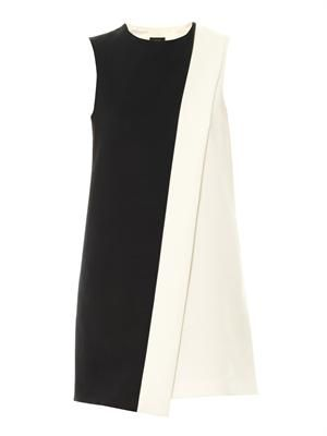 Bi-colour stretch-twill dress