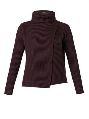 Wrap-front roll-neck sweater