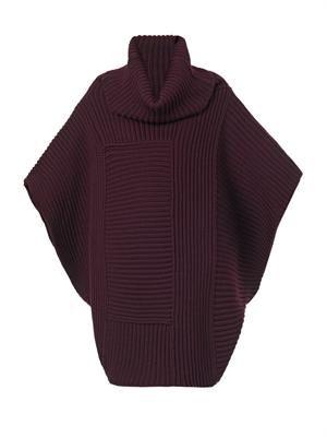 Oversized chunky-knit roll-neck sweater