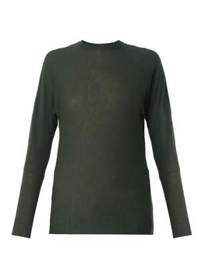 Fine-knit dark-green cashmere sweater