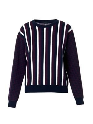 Stripe and zigzag intarsia-knit sweater