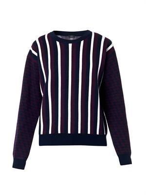 Stripe and zigzag intarsia-knit sweater