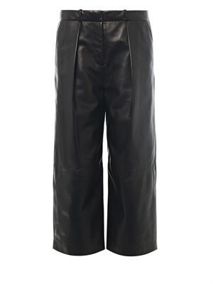 Savile cropped leather trousers