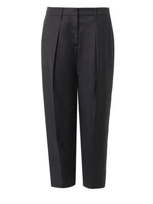 Savile pleated-front cropped trousers