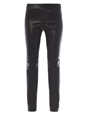Matt stretch-leather leggings