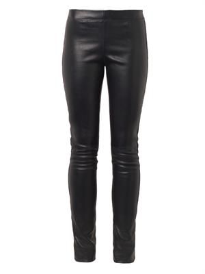 Navy mid-rise leather leggings