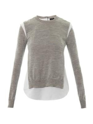 Layered merino wool knit sweater