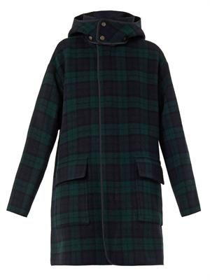 Check wool-blend coat