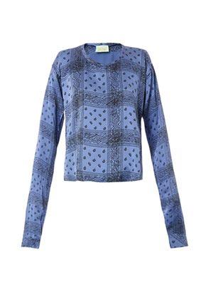 Bandana-print silk blouse
