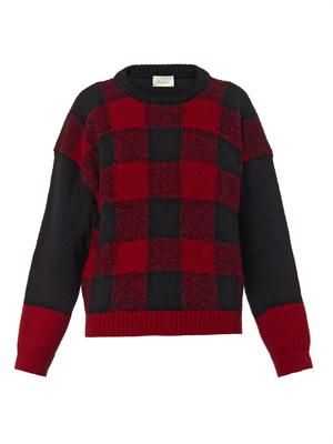Bi-colour checked wool sweater
