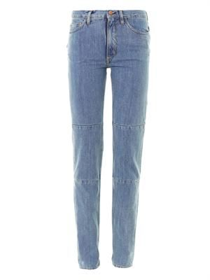 Patched up high-rise straight-leg jeans