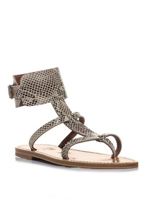 Snake textured leather sandals