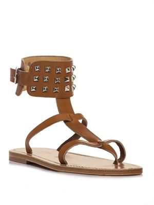 Studded ankle strap sandals