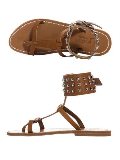 K. Jacques Studded ankle strap sandals