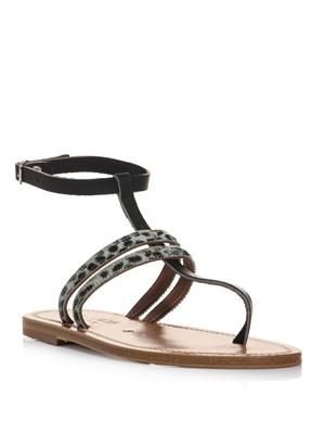 Simple leopard and leather sandals