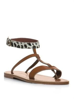 Leopard and leather sandals
