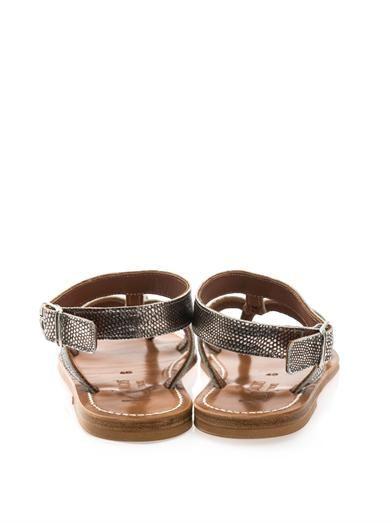 K. Jacques Corvette metallic leather sandals